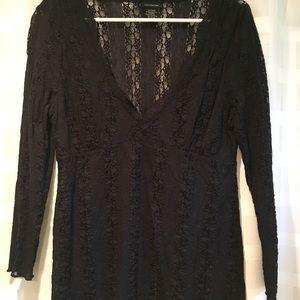 Calvin Klein black lace blouse long sleeve